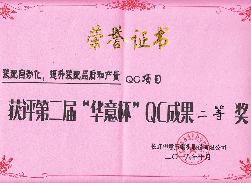 """""""华意杯""""QC成果二等奖"""